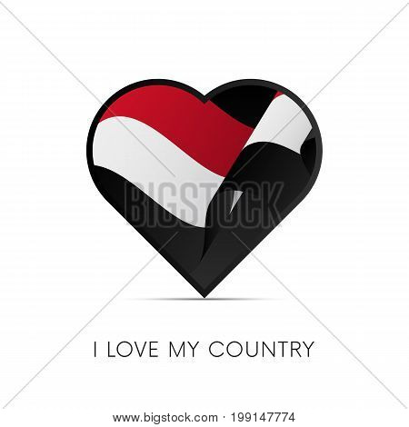 Yemen flag in heart. I love my country. sign. Vector illustration.