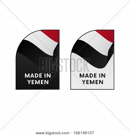 Stickers Made in Yemen. Waving flag. Vector illustration.