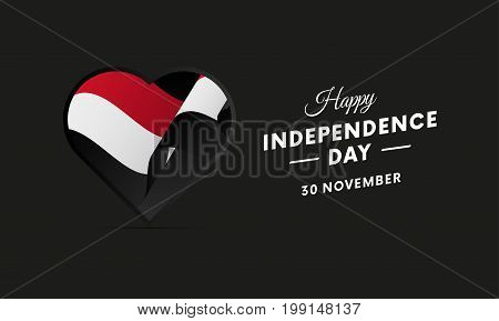 Yemen Independence Day. 30 November. Waving flag in heart. Vector illustration.