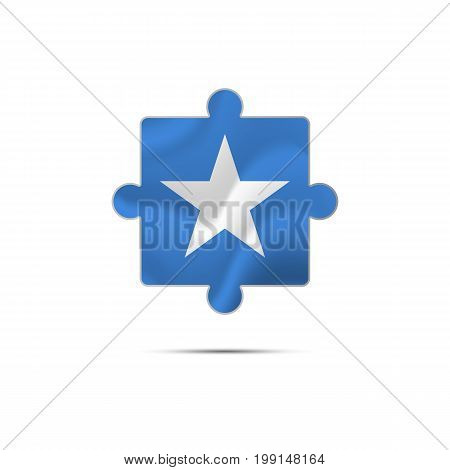 Isolated piece of puzzle with the Somalia flag. Vector illustration.