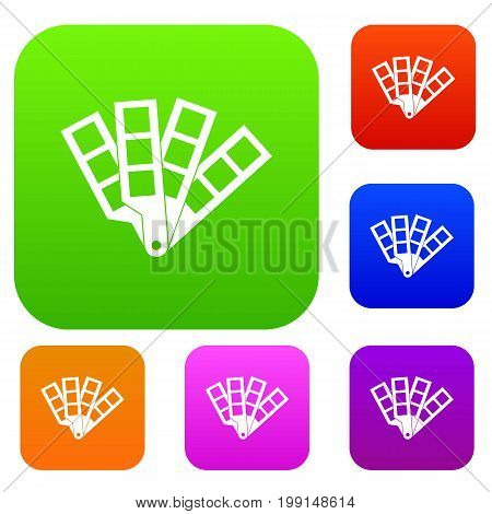 Color palette guide set icon in different colors isolated vector illustration. Premium collection