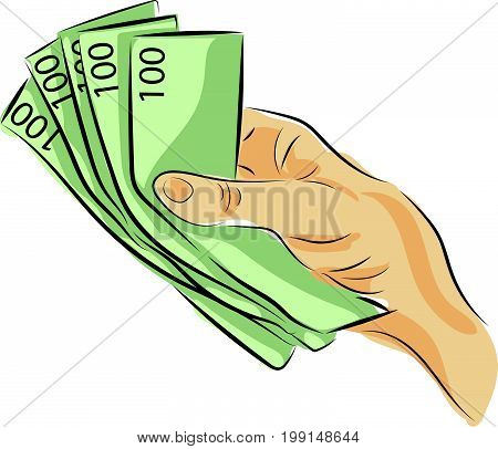 graphic design editable for your design, hand drawn human hand holding money isolated on white background. Vector Illustration.