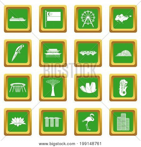 Singapore icons set in green color isolated vector illustration for web and any design