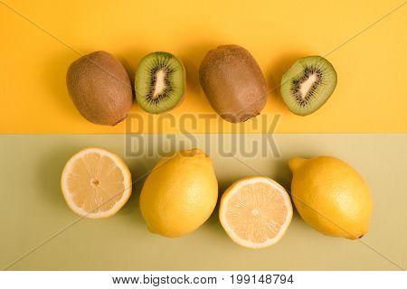Fruity background set of slices of orange fruit and kiwi.