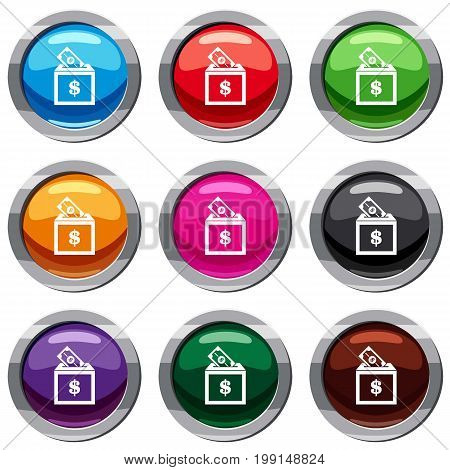 Donation box set icon isolated on white. 9 icon collection vector illustration