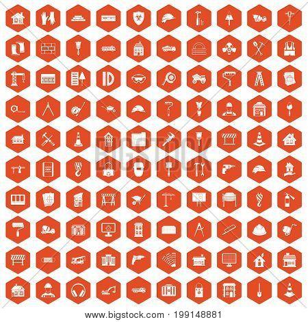 100 construction icons set in orange hexagon isolated vector illustration