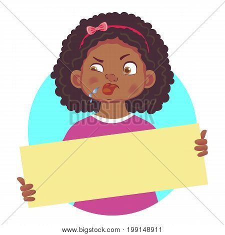 African or Afro-American girl with stuck out tongue holding blank poster. Blank message illustration. Hands holding blank paper