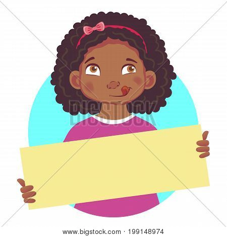 Hungry African or Afro-American girl holding blank poster. Blank message illustration. Hands holding blank paper