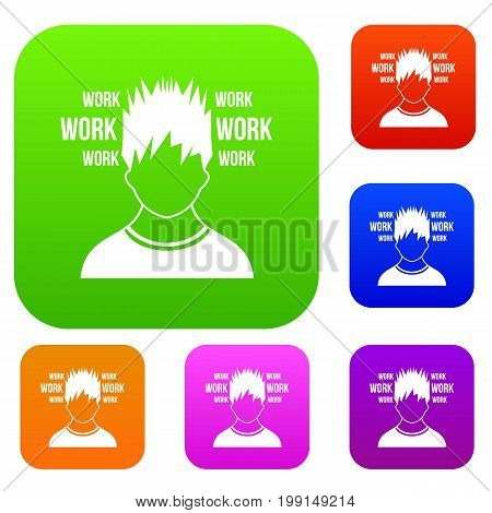Man and work words set icon in different colors isolated vector illustration. Premium collection