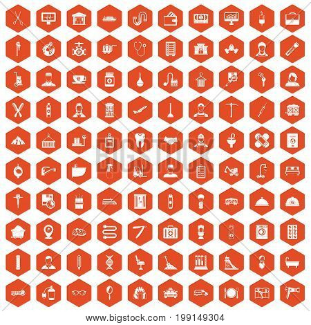 100 craft icons set in orange hexagon isolated vector illustration