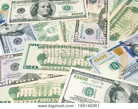 Background of the american dollars bills. Various USD dollar notes