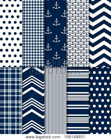 10 seamless navy background patterns: file includes polka dots, gingham, plaid, chevron, stripe and anchor patterns.