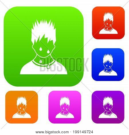 Sweaty man set icon in different colors isolated vector illustration. Premium collection