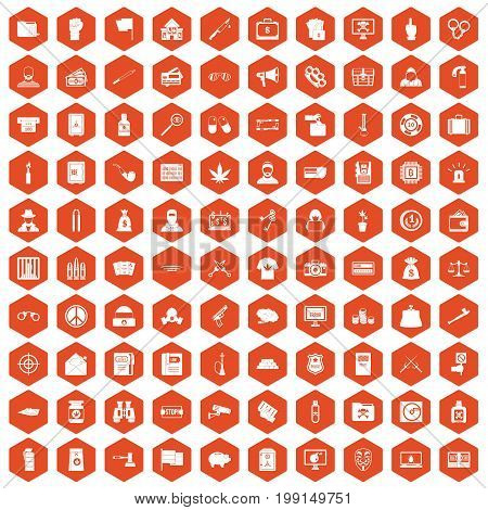 100 criminal offence icons set in orange hexagon isolated vector illustration