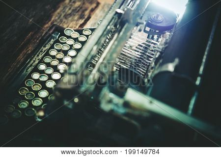 Aged Typewriting Machine Closeup Photo. Vintage Typewriter.