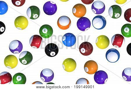 Billiard Balls Backdrop. Balls Isolated on Solid White Background. 3D Rendered Illustration.