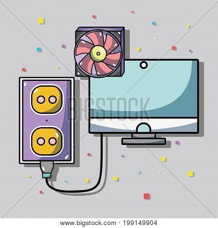 computer data center system information vector illustration