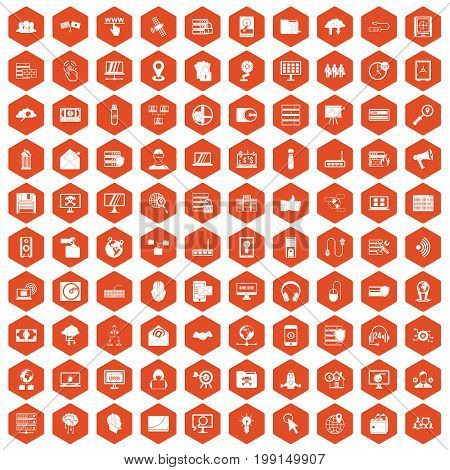 100 cyber security icons set in orange hexagon isolated vector illustration