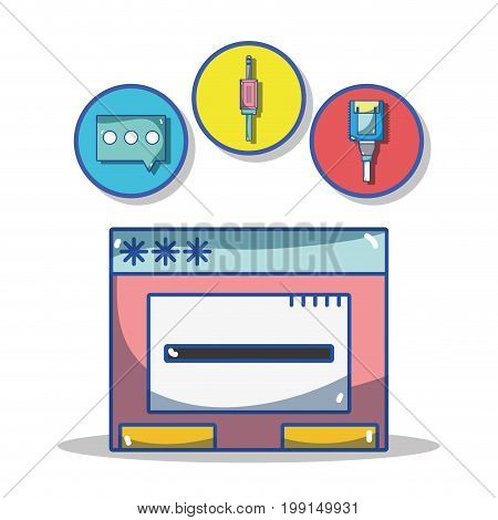 security data center connection server vector illustration