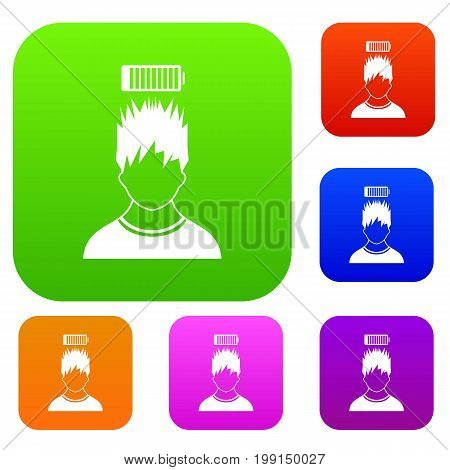 Man with low battery over head set icon in different colors isolated vector illustration. Premium collection