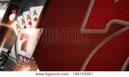 Casino Games Copy Space Banner with Lucky Sevens Black Jack Cards and Slot Machine Elements 3D Rendered Illustration.