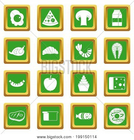 Food icons set in green color isolated vector illustration for web and any design