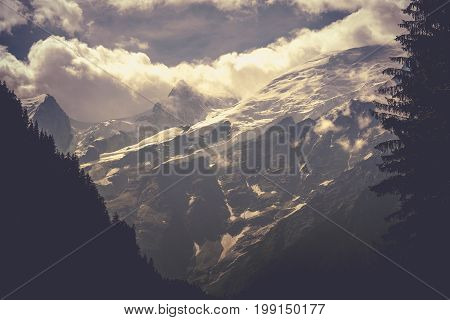 Chamonix Mont Blanc Scenery. Dramatic Mont Blanc Massif Covered by Clouds.