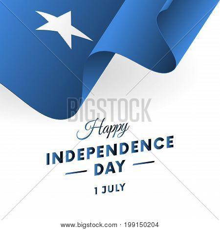Somalia Independence Day. 1 July. Waving flag in heart. Vector illustration.