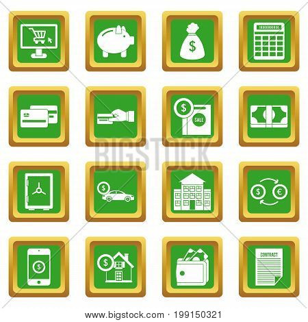 Credit icons set in green color isolated vector illustration for web and any design
