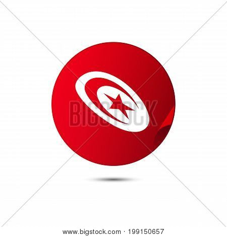 Tunisia flag button with shadow on a white background. Vector illustration.