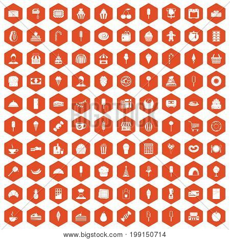 100 dessert icons set in orange hexagon isolated vector illustration