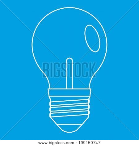Bulb icon blue outline style isolated vector illustration. Thin line sign