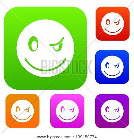 Eyewink emotset icon in different colors isolated vector illustration. Premium collection
