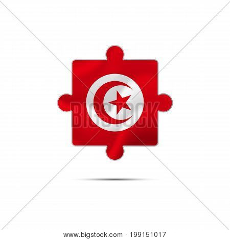 Isolated piece of puzzle with the Tunisia flag. Vector illustration.