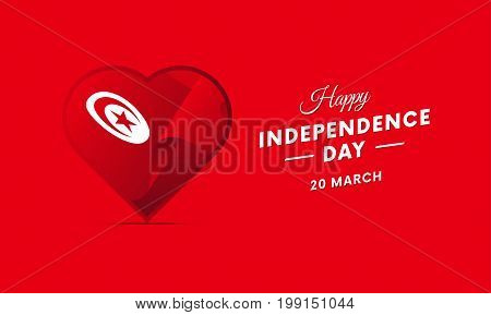 Tunisia Independence Day. 20 March. Waving flag in heart. Vector illustration.