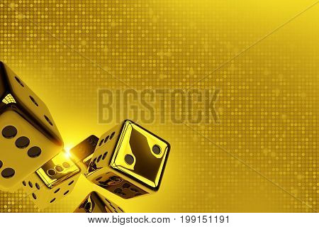 Golden Dices Copy Space 3D Render Illustration. Shiny Golden Craps Dices on Goldish Blinking Background