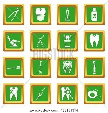 Dental care icons set in green color isolated vector illustration for web and any design