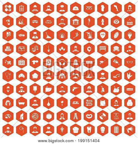 100 different professions icons set in orange hexagon isolated vector illustration