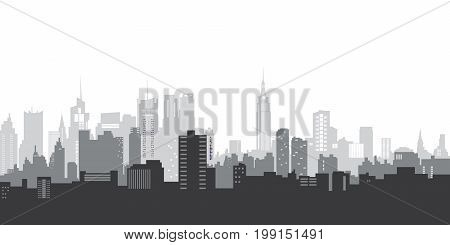 Vector illustration landscape. Blue silhouette of the city. City landscape in a flat style. Modern city landscape. Urban backgrounds. The daily horizon of the city..