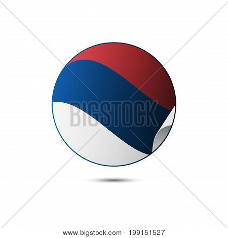 Serbia flag button with shadow on a white background. Vector illustration.