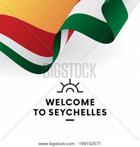 Welcome to Seychelles. Seychelles flag. Patriotic design. Vector illustration.
