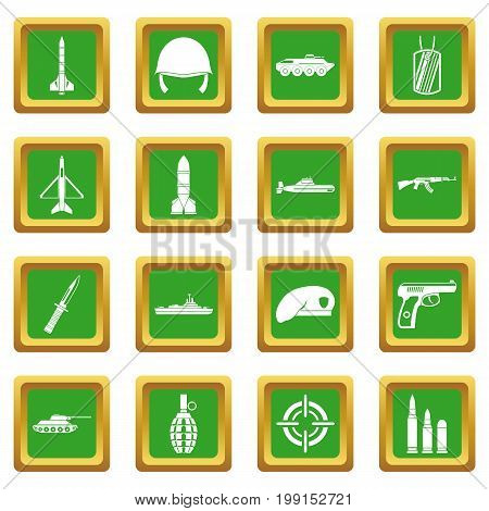 Military icons set in green color isolated vector illustration for web and any design