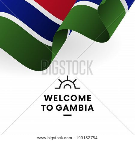 Welcome to Gambia. Gambia flag. Patriotic design. Vector illustration.