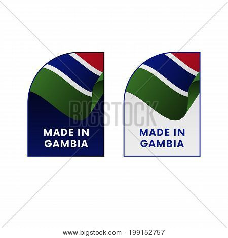 Stickers Made in Gambia. Waving flag. Vector illustration.