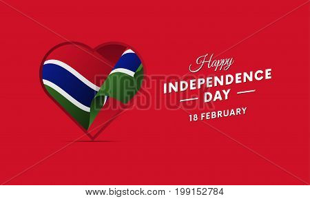 Gambia Independence Day. 18 February. Waving flag in heart. Vector illustration.