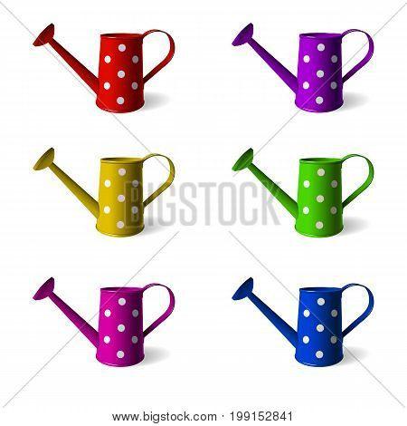 Watering can. Set of children s watering cans in different colors. Isolated objects. White background. Vector illustration.