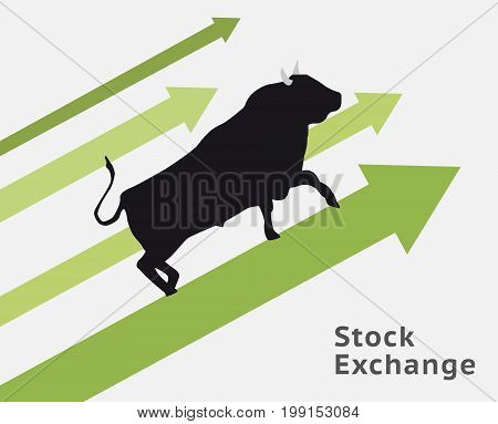 Bull stock concept raising up. Making profit.
