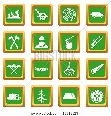 Timber industry icons set in green color isolated vector illustration for web and any design