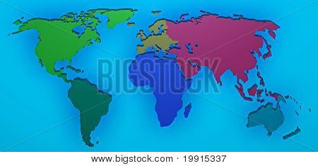 World Map 3D Render With The Different Continents