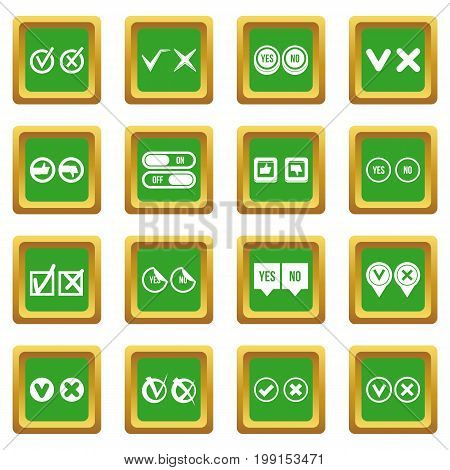 Check mark icons set in green color isolated vector illustration for web and any design